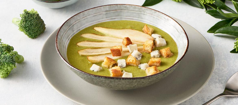 Krem brokułowy z gruszkami i gorgonzolą